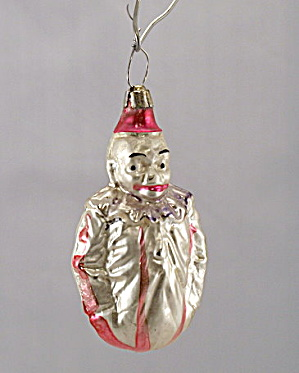 "Lovely Early 1900s Rounded Clown 3 1/2"" Ornament"