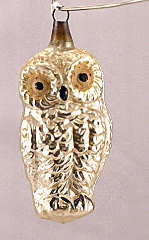 "Early 3 1/2"" Owl Blown Glass Ornament"