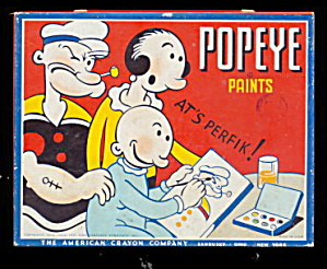 1933 Popeye Paints At Perfik Paints Tin Box