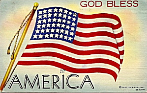 """God Bless America"" US Flag Postcard (Image1)"