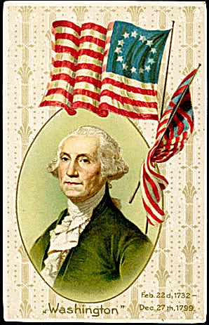 Winsch George Washington Patriotic w Flag 1907 Postcard (Image1)