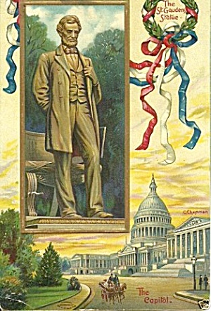 1908 Abraham Lincoln Statue Patriotic Postcard (Image1)