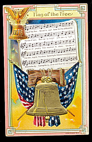 1907 Winsch 'flag Of The Free' Patriotic Postcard