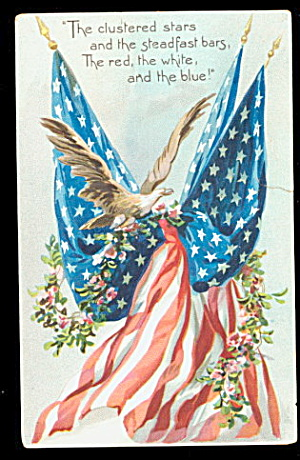 1910 Patriotic 'Red, White, & Blue Flags' Postcard (Image1)