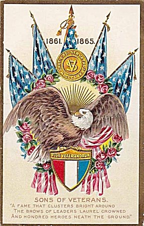 1861-1865 'Sons of Veterans' Eagle Patriotic Postcard (Image1)