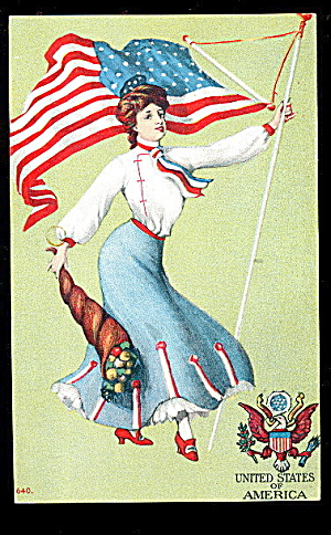 St John United States Lady/flag Patriotic 1906 Postcard