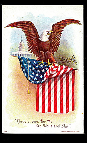 Julius Bien 'three Cheers Red,white & Blue' Postcard