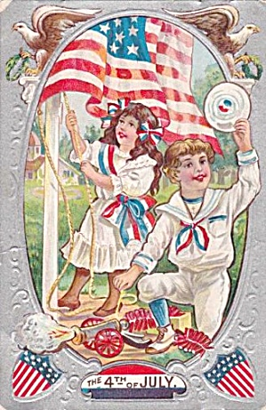 Lovely July 4th Children Raising Flag 1911 Postcard (Image1)