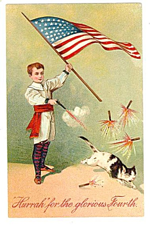 PFB 1907 Child with Flag & Cat July 4th Postcard (Image1)