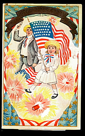 July 4th Patriotic Children With Flag 1906 Postcard
