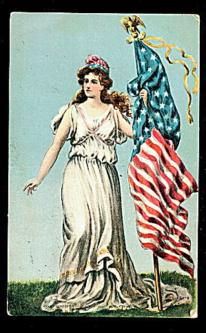 Lady Liberty With Flag Patriotic 1908 Postcard