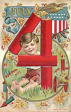 July 4th Patriotic Boy with Fireworks 1908 Postcard (Image1)