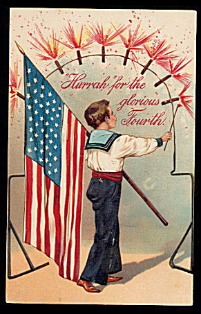 PFB 1907 Child with Flag July 4th Postcard (Image1)