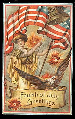 July 4th Girl & Flags, Fireworks 1909 Postcard