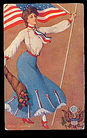 St John Miss Columbia Lady/flag 1906 Postcard
