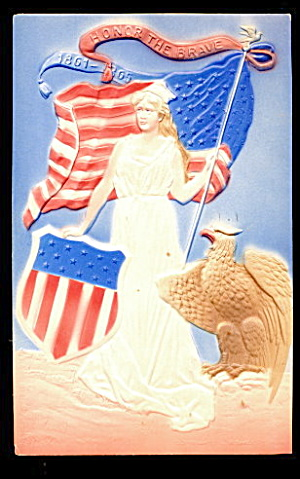 Honor The Brave Girl With Eagle 1907 Postcard