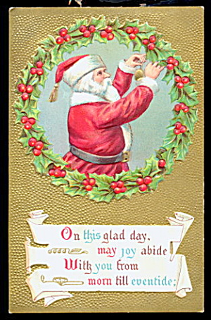 Santa Claus in Gilt with Wreath 1910 Postcard (Image1)