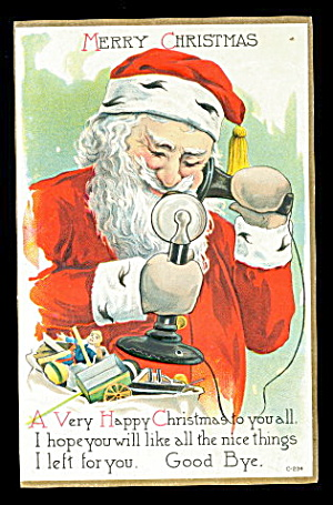 Santa Claus on Telephone 1908 Postcard (Image1)
