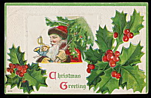 Santa Claus with Holly 1912 Postcard (Image1)
