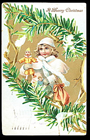 Frances Brundage Christmas Girl 1905 Postcard