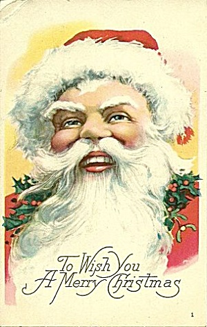 Santa Claus with Fur Hat Head Postcard ca 1915 (Image1)