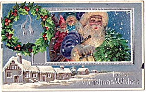 Santa Claus in Blue Coat with Toys 1908 Postcard (Image1)