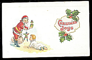 Santa Claus with Child 'Christmas Joys' 1910 Postcard (Image1)