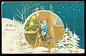 Christmas Girl on Rocking Horse Christmas 1907 Postcard (Image1)