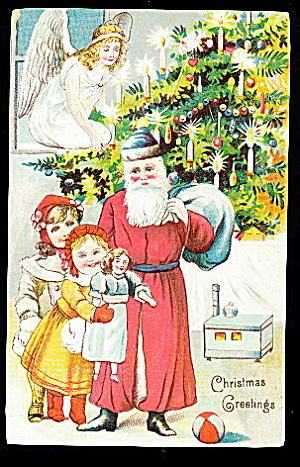 Santa Claus in Blue Hat with Girls 1908 Postcard (Image1)