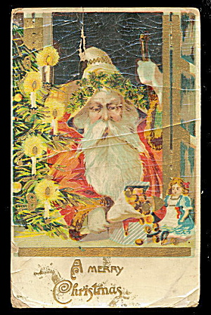 Santa Claus in Robe /Father Christmas 1908 Postcard (Image1)