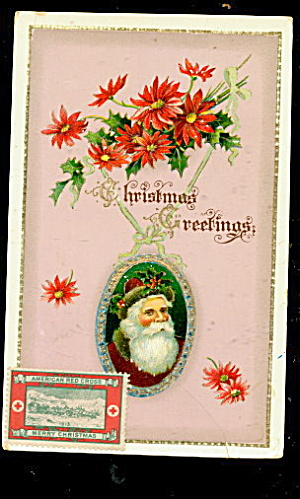 Great Santa Claus in Fur Cap 1912 Postcard (Image1)