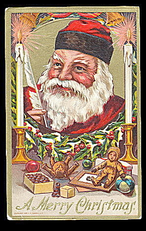 Santa Claus With Candles 1908 Postcard