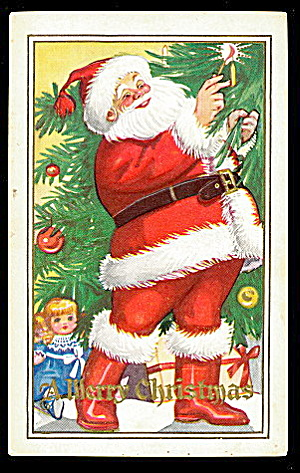 Great Santa Claus With Dolly 1925 Postcard