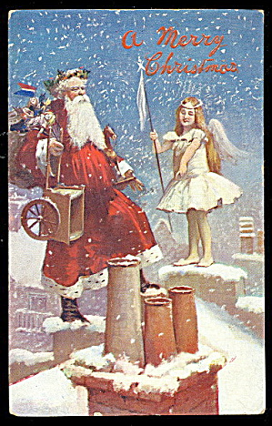 Valentines Santa Claus With Angel 1907 Postcard