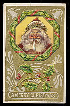 Santa Claus with Quill Pen 1908 Postcard (Image1)