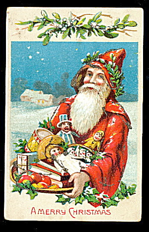 Santa Claus/father Christmas W Toys 1909 Postcard