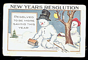 Snowman /Snow People New Years 1918 Postcard (Image1)