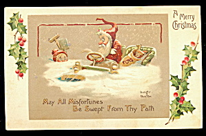 Dudley & Buxton Santa Claus In Automobile 1915 Postcard