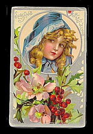 Frances Brundage? Christmas Girl 1913 Postcard (Image1)
