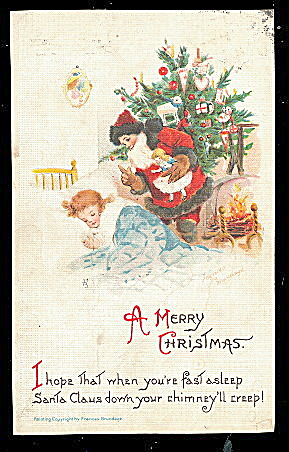 Frances Brundage Santa Claus & Girl 1913 Postcard (Image1)