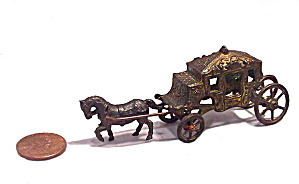 Early 1900s Metal Horse Pulling Carriage Penny Toy