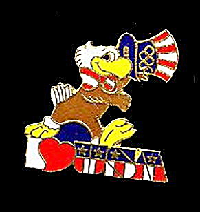 1984 'Sam' the Eagle 1984 LA Olympics Pinback (Image1)