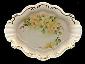 Gorgeous Yellow Roses Scalloped Porcelain Pin Tray (Image1)