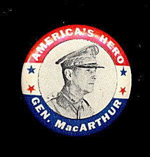 1940's WW II Gen. Douglas MacArthur America's Pin (Image1)