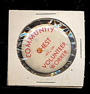 1935 Syracuse NY Community Chest Volunteer Pinback (Image1)