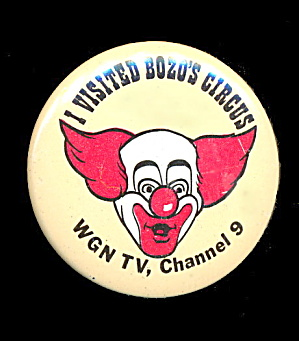 1967 I Visited Bozo The Clown Pin Wgn Tv Channel 9