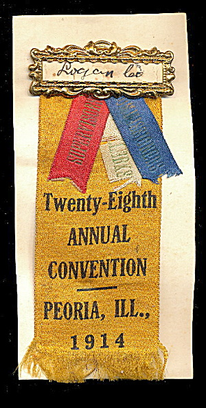 1914 28th Convention County Officers Peoria Il Ribbon