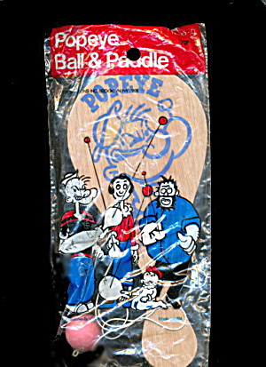 1970s Popeye Wooden Paddle Ball Mint In Pkg