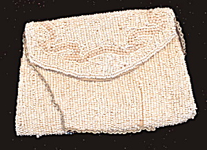 Small White Glass Beaded Purse - Early (Image1)