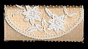 Vintage Clutch White Glass Beaded Purse (Image1)